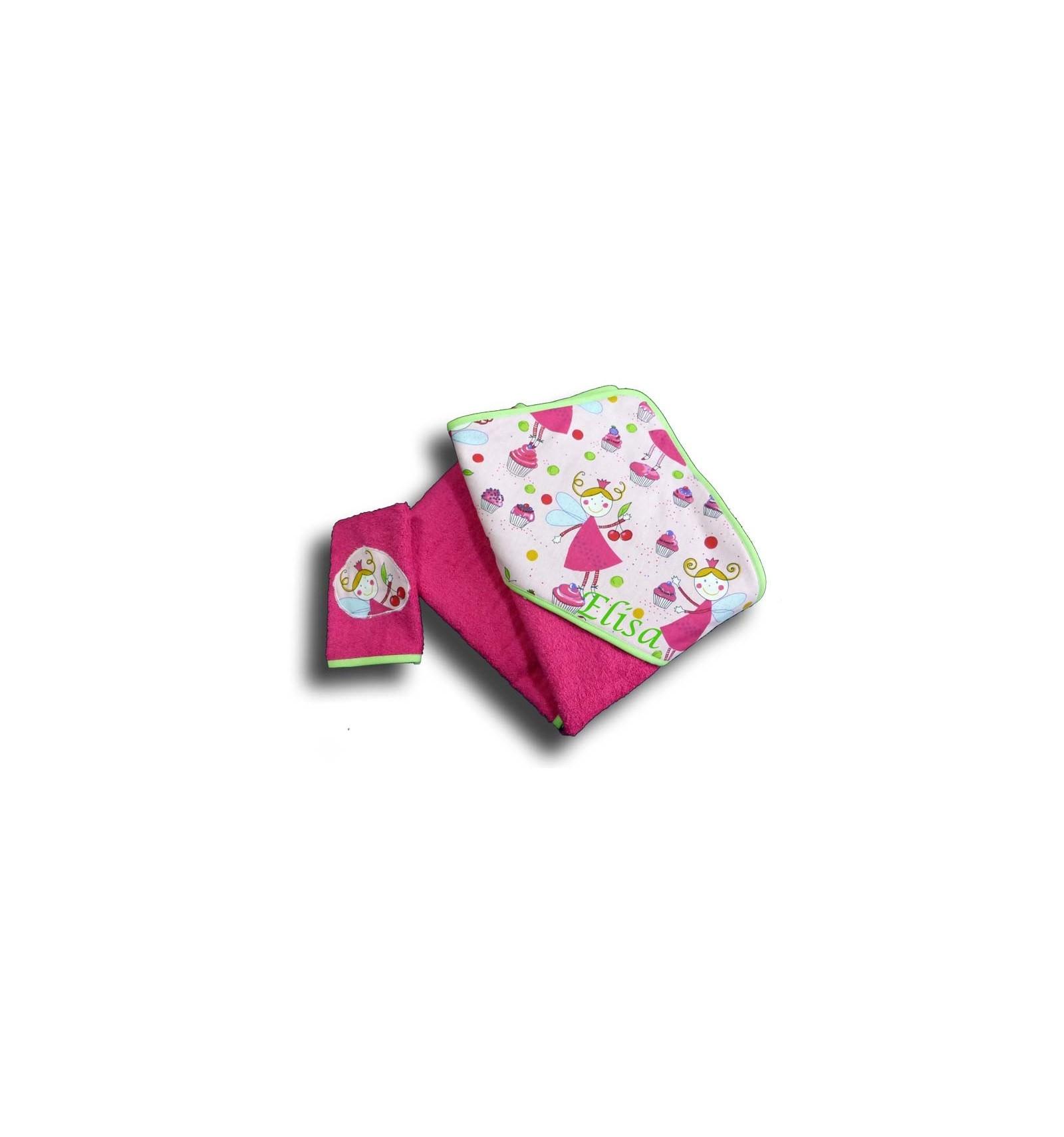 sortie de bain fille personnalis e cape de bain enfant 3 ans motif f e rose. Black Bedroom Furniture Sets. Home Design Ideas