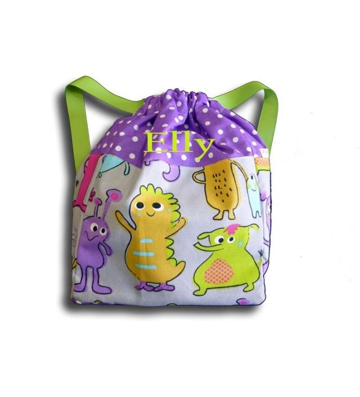 Sac à dos Maternelle Petit Monstre - Haut du sac violet