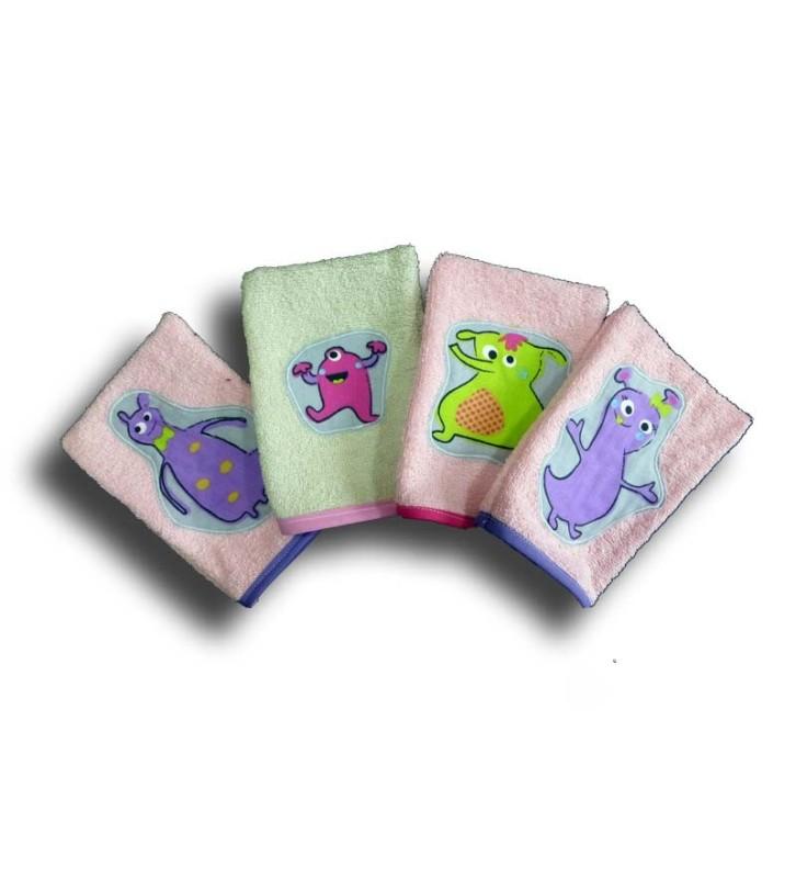 Lot de 4 gants de Toilette Enfant - Motifs Petits Monstres