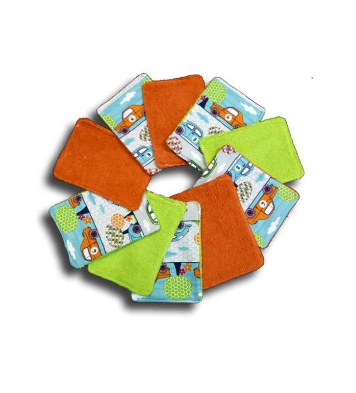 Lot 10 Lingettes Lavables Tissu - Motifs Voitures de Course