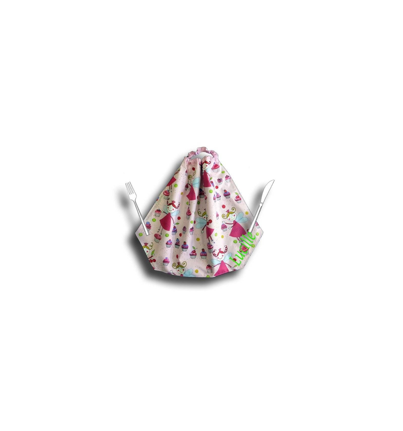 Serviette cantine avec elastique motif f e rose cr aflo - Serviette de table pour cantine ...
