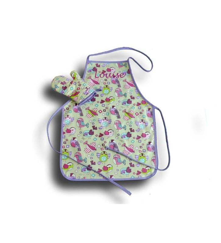 Tablier de cuisine Fille 4 à 10 ans - Motif Piou Piou