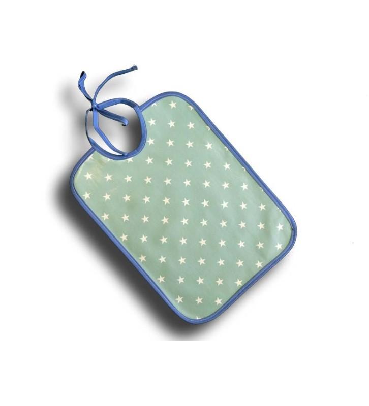 Bavoir Plastique Bébé - Motif Etoiles bleues