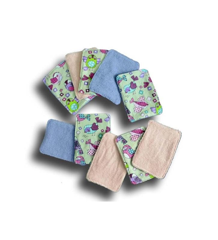 Lingettes Lavables bébé - Lot 10 Lingettes pour liniment bébé - Motif Piou Piou