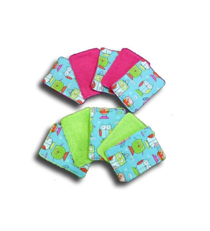 Lingette Nettoyante - Lot 10 Lingettes lavables bébé - Motif Chouette Bleu