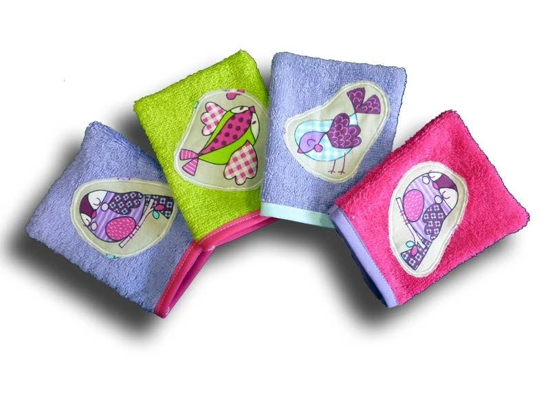 Gant de Toilette Animaux - Lot 4 gants motif Piou Piou