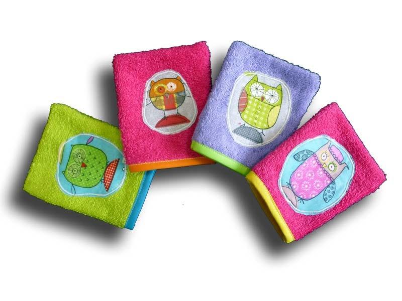 Gant de Toilette Bébé - Lot 4 gants Motif Chouette