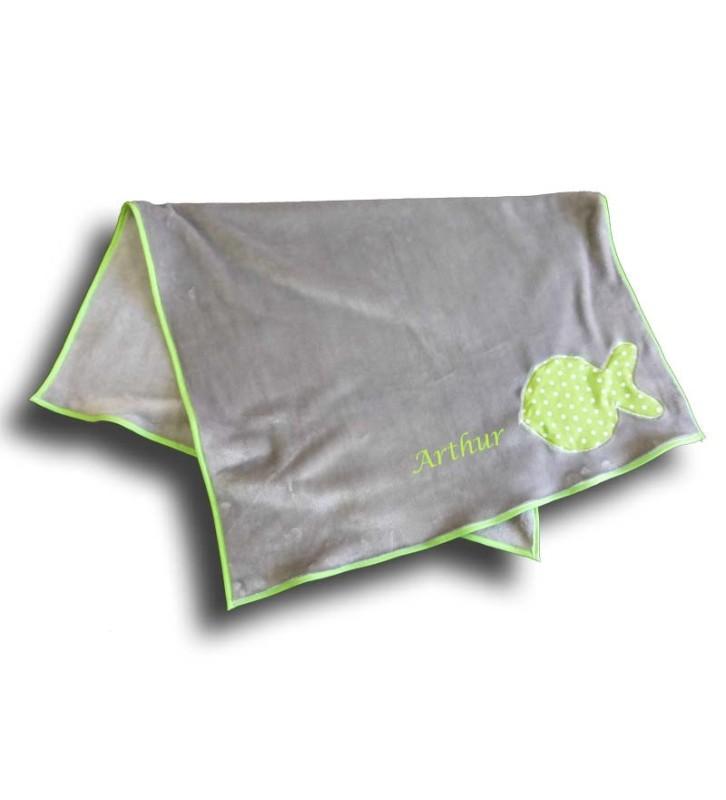 Couverture Personnalisée Naissance - Motif Poisson Vert