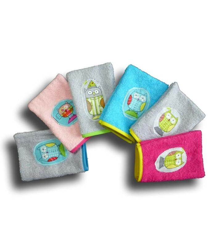 Lot de 6 gants de toilette enfant - Motif Chouette