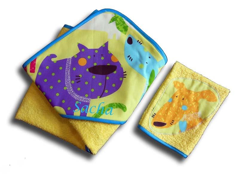 Serviette de bain Bébé Personnalisée - Motifs Chien Rigolos