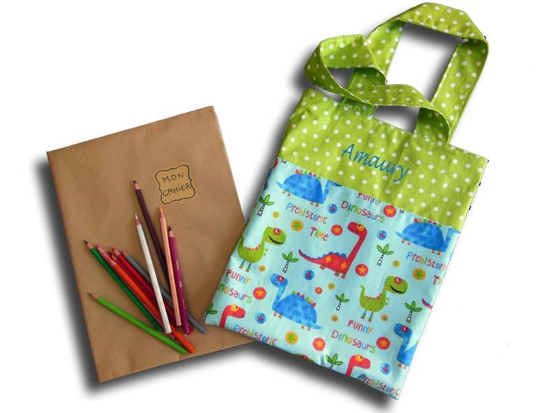 Sac Maternelle Tissu cahier - Petits Dinos