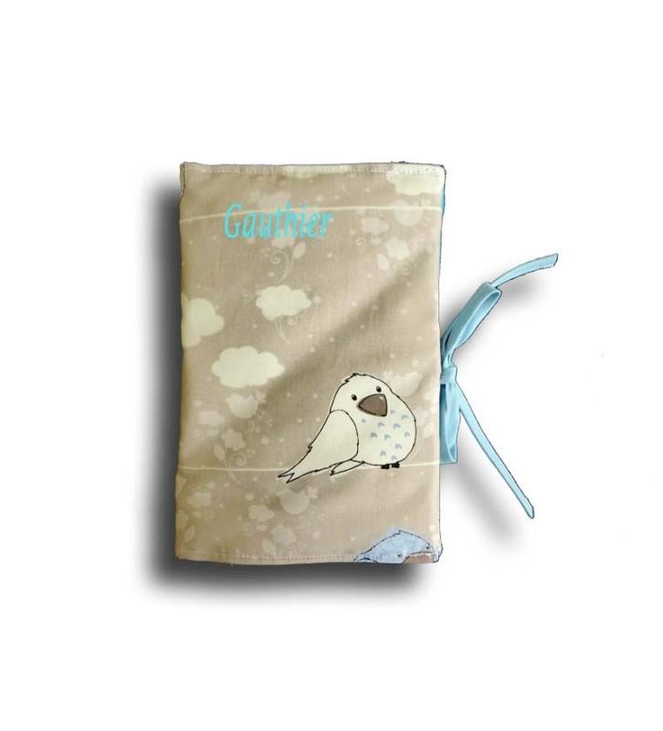 Cadeau Naissance Original - Protège Carnet de Santé Naissance Oiseau Bleu