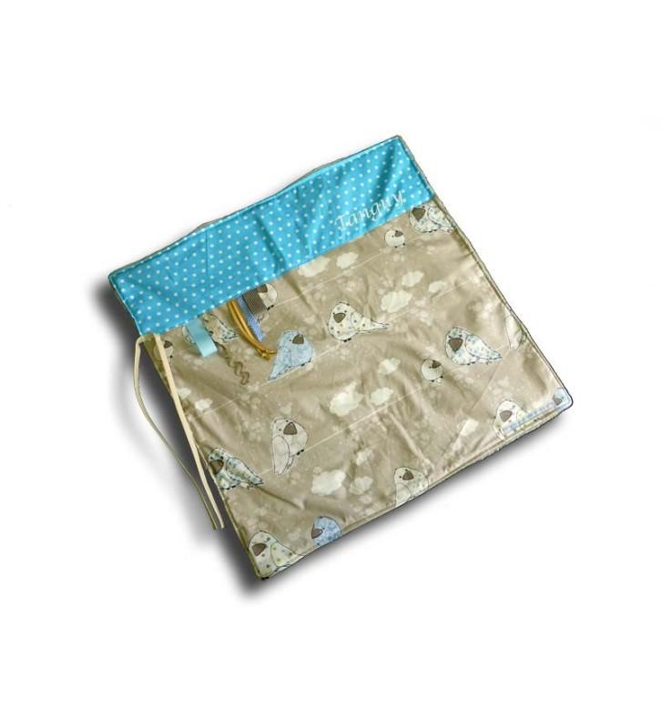 Couverture bébé Douillette Personnalisée - Naissance Oiseau Bleu
