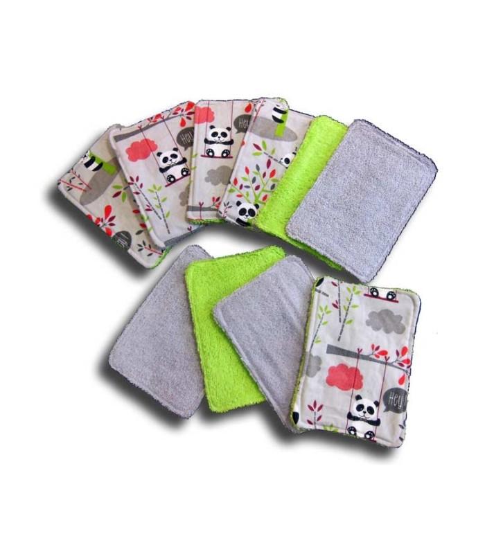 Dix Lingettes Lavables pour Bébé - Motif Panda