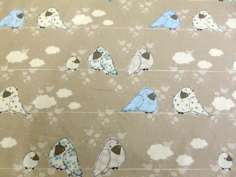 Tissu Bébé Garçon Bleu - Motif Naissance Oiseau Bleu