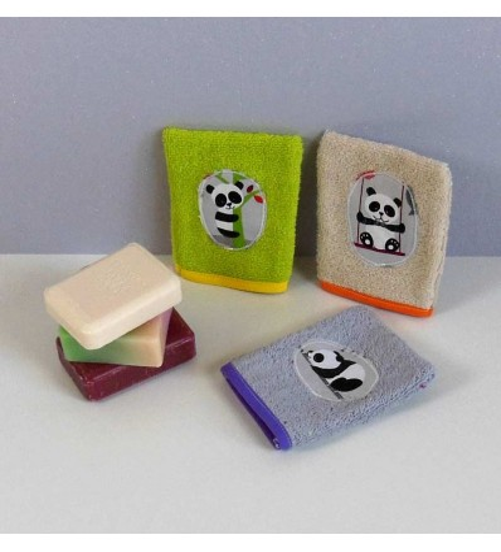 Lot de 3 gants de toilette bébé éponge - Panda