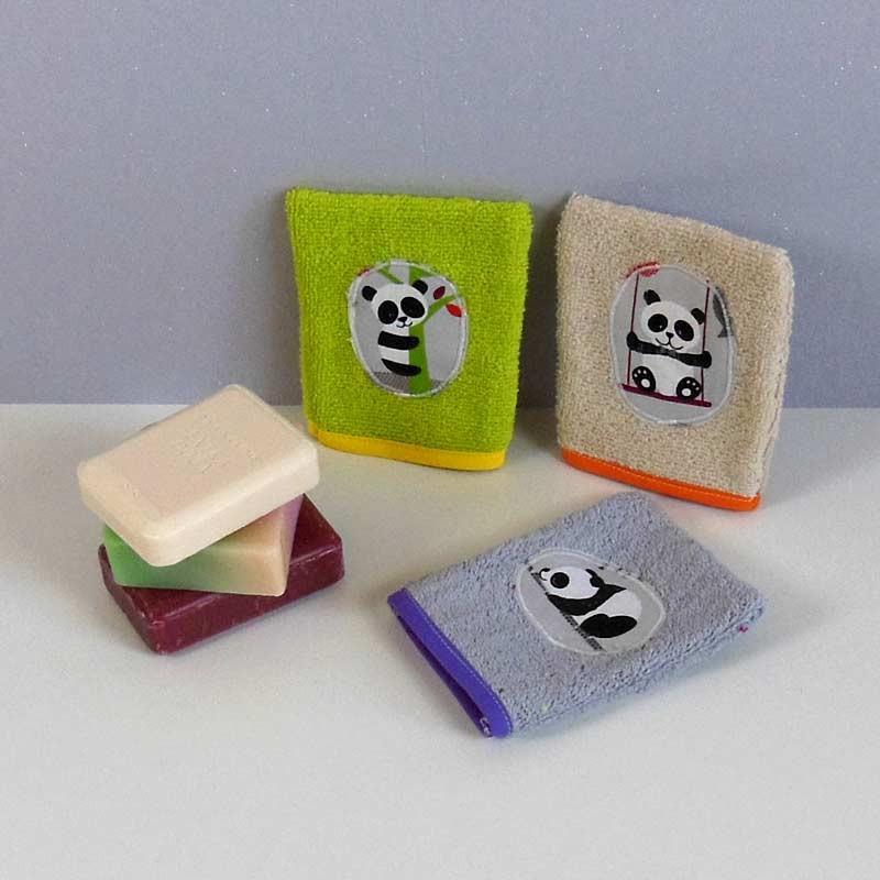 Lot de 3 gants de toilette bébé - Panda