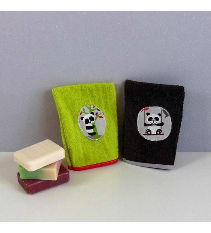 Lot 2 gants de toilette éponge rigolos - Panda