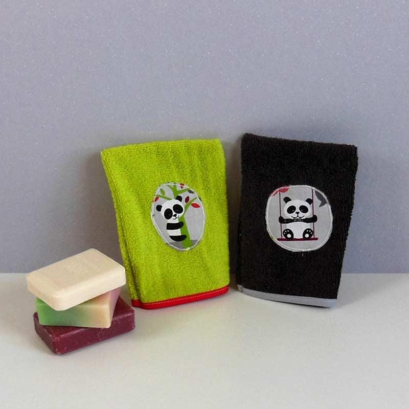 Lot 2 gants toilette éponge rigolos - Panda