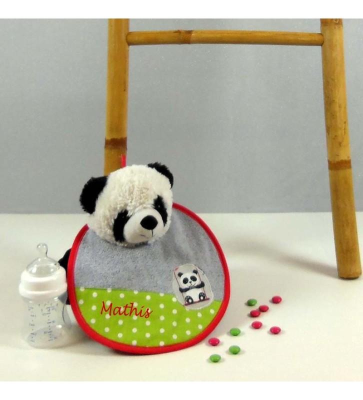 Bavoir Naissance Personnalisé - Eponge Grise - Panda