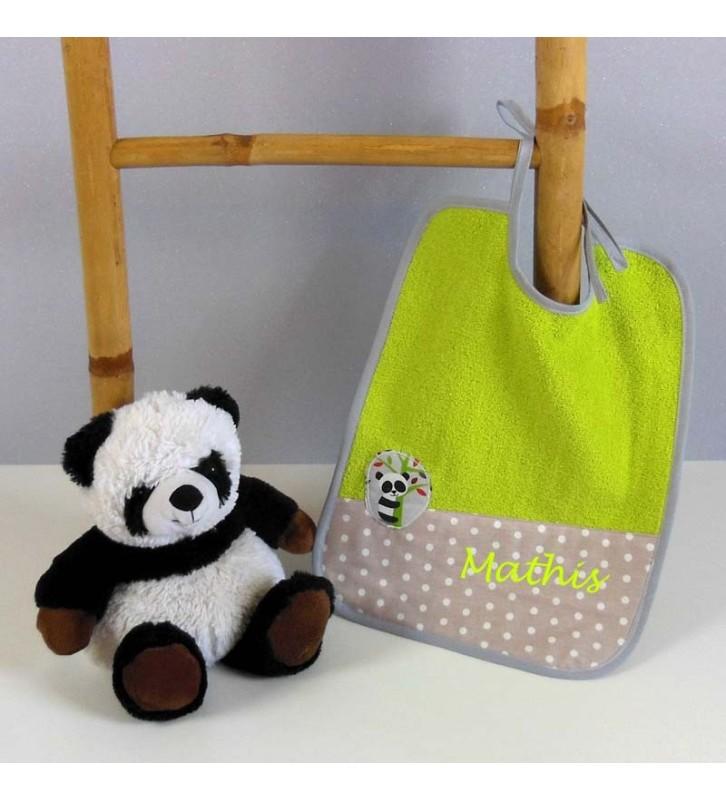Bavoir en Eponge verte Personnalisé - Panda