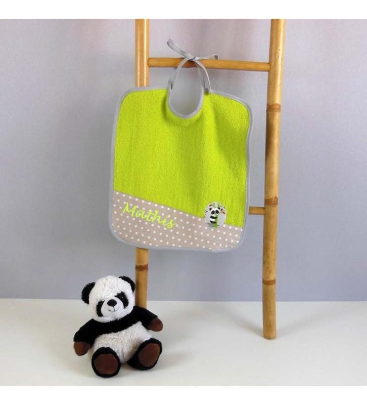 Grand bavoir éponge verte - Panda