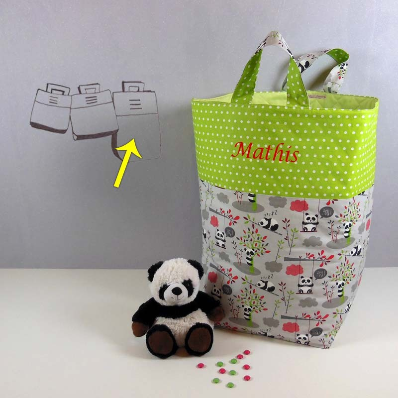 grand coffre jouets sac enfant personnalis panda cr aflo. Black Bedroom Furniture Sets. Home Design Ideas
