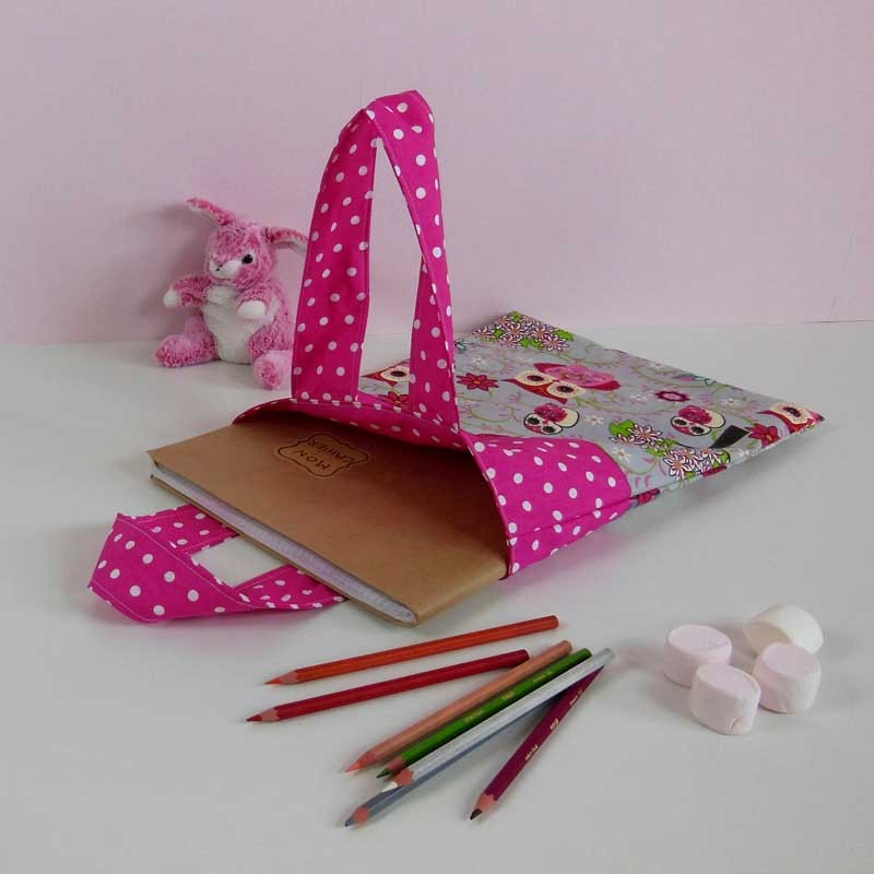 Sac Tissu pour Cahier de Vie - Motif Chouette Rose