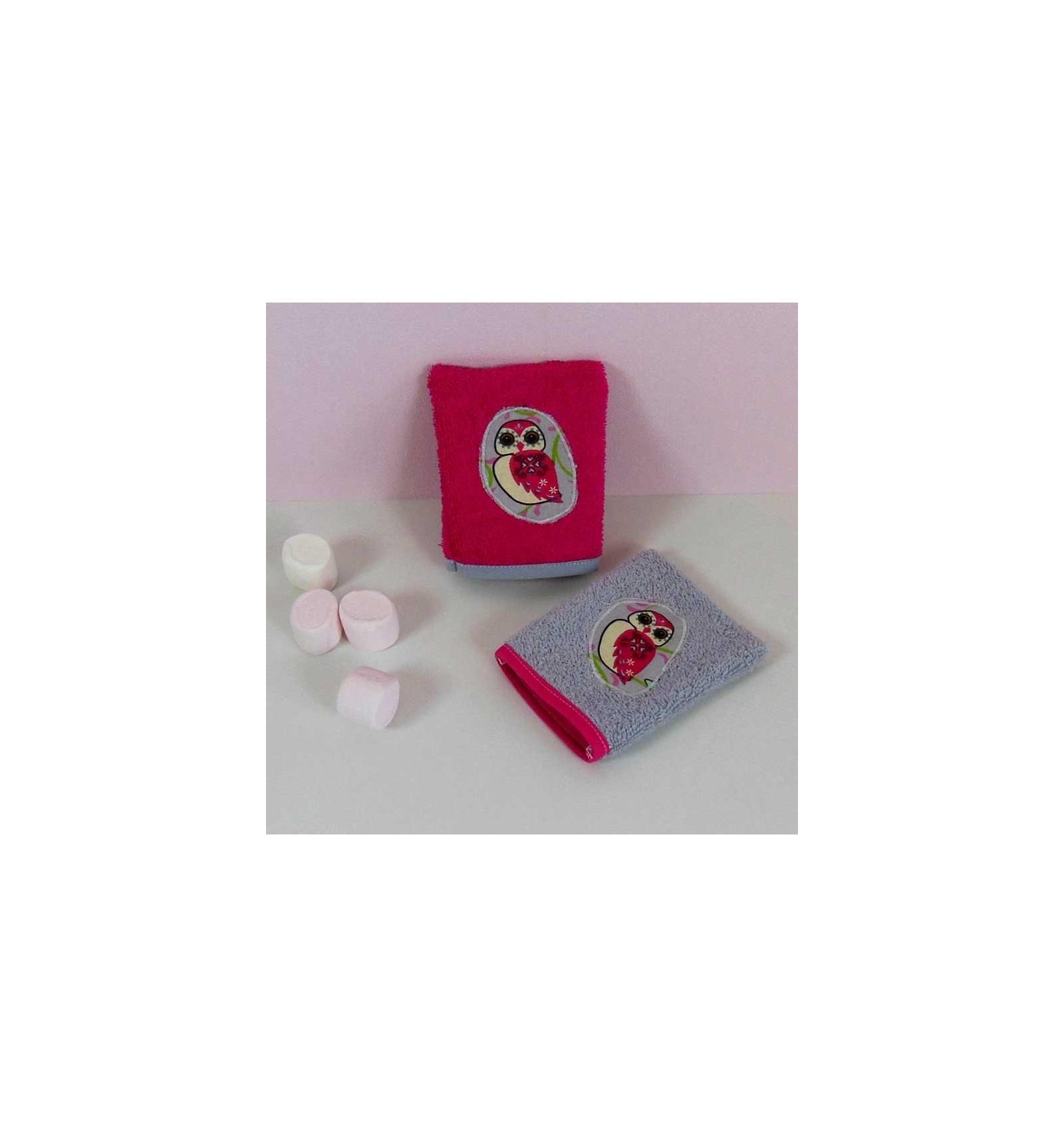 gant de toilette rose 2 gants chouette rose cr aflo. Black Bedroom Furniture Sets. Home Design Ideas