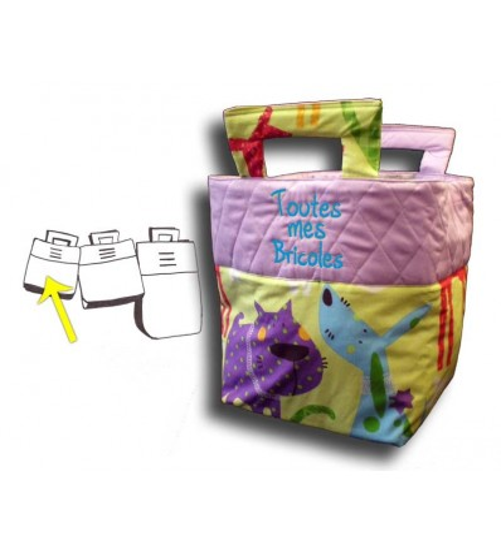 Petit sac à jouets chiens rigolos violet