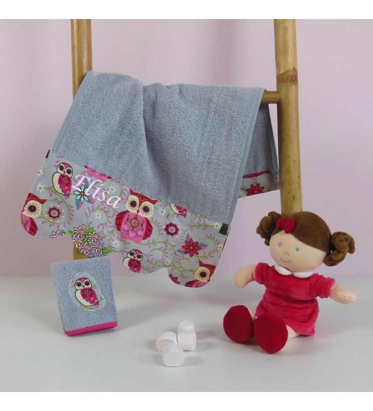 Serviette de toilette bébé personnalisée - Chouette Rose éponge grise