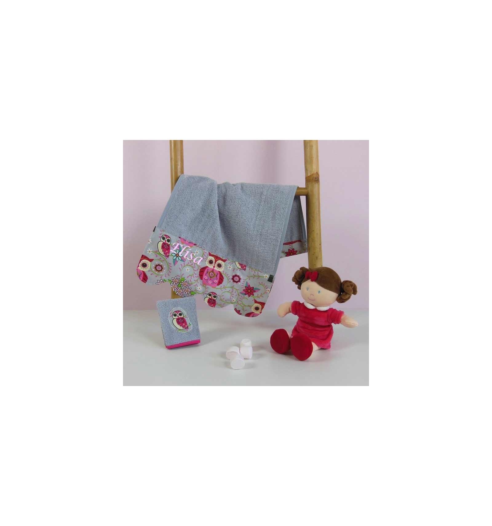 serviette ponge b b personnalis e motif chouette rose cr aflo. Black Bedroom Furniture Sets. Home Design Ideas
