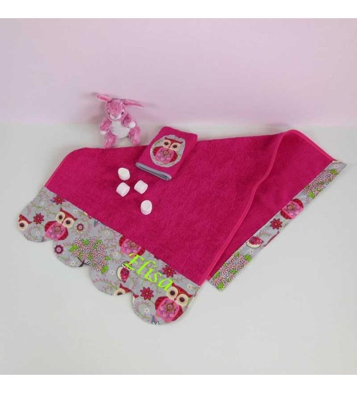 Serviette de Toilette Personnalisée Fille éponge fushia - Chouette Rose