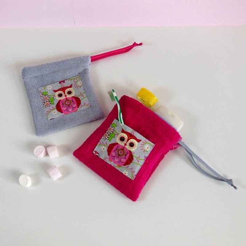 Trousse Toilette Eponge Personnalisée - Motif Chouette Rose
