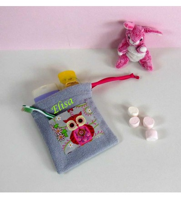 Trousse Toilette Eponge grise Personnalisée - Motif Chouette Rose
