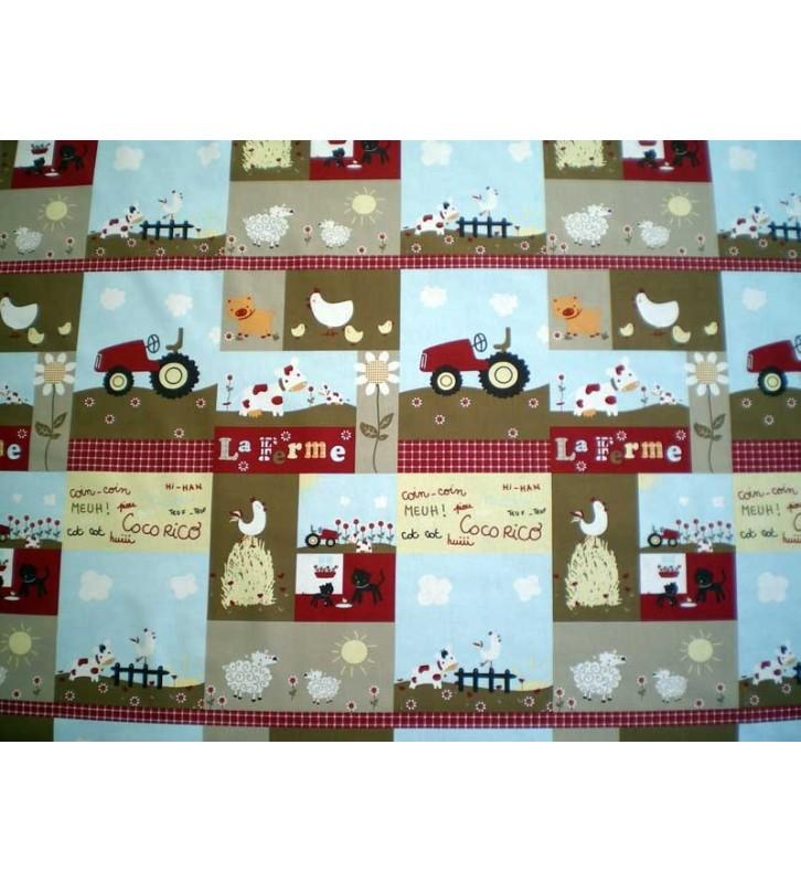 Tissu pour enfant à la ferme beige
