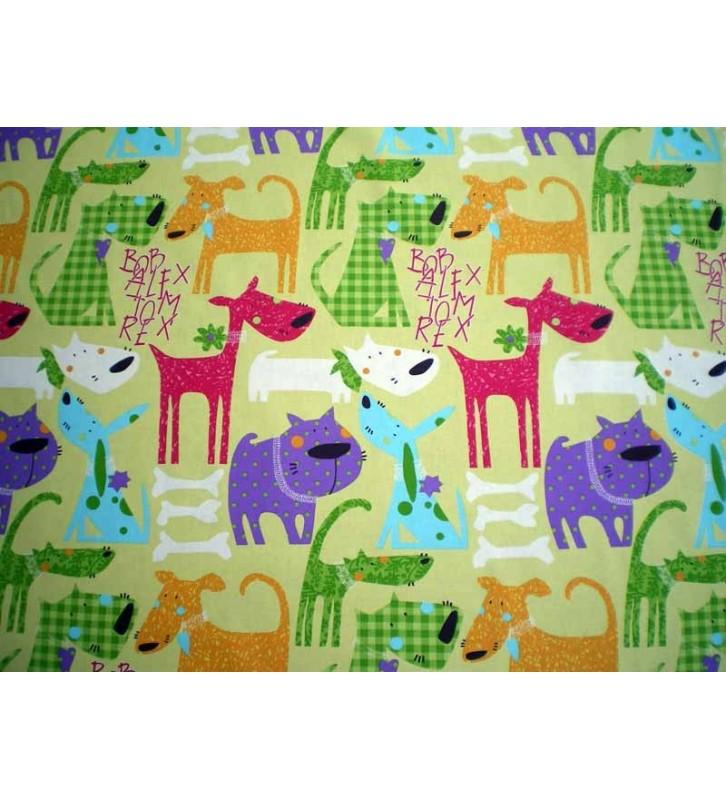 Tissu pour enfant chiens rigolos