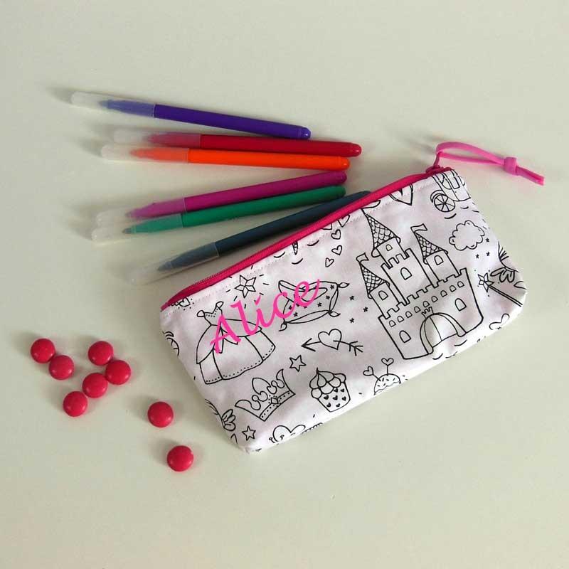 Trousse à crayons à colorier personnalisée - Motif Château de Princesse