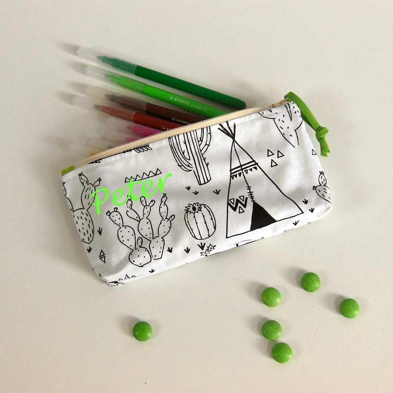 Trousse à crayons à colorier personnalisée - Motif Tipi d'indien