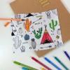 Sac Baluchon tissu à colorier - Motif Tipi d'indien
