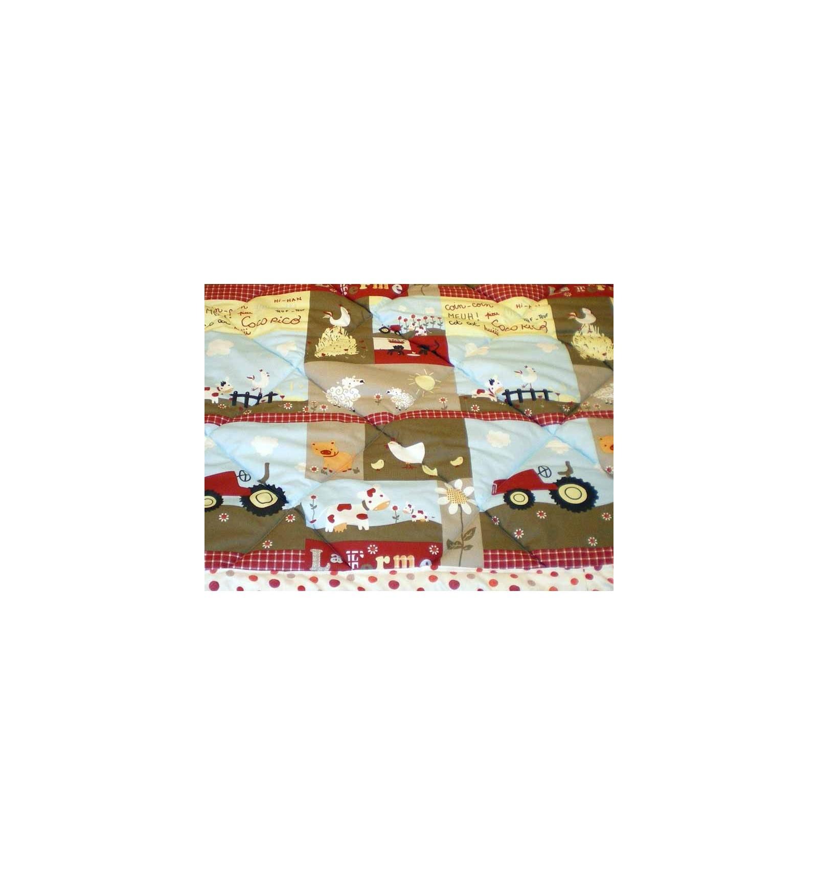 edredon enfant motif animaux de la ferme et tracteur edredon enfant 100x120 cm couette. Black Bedroom Furniture Sets. Home Design Ideas