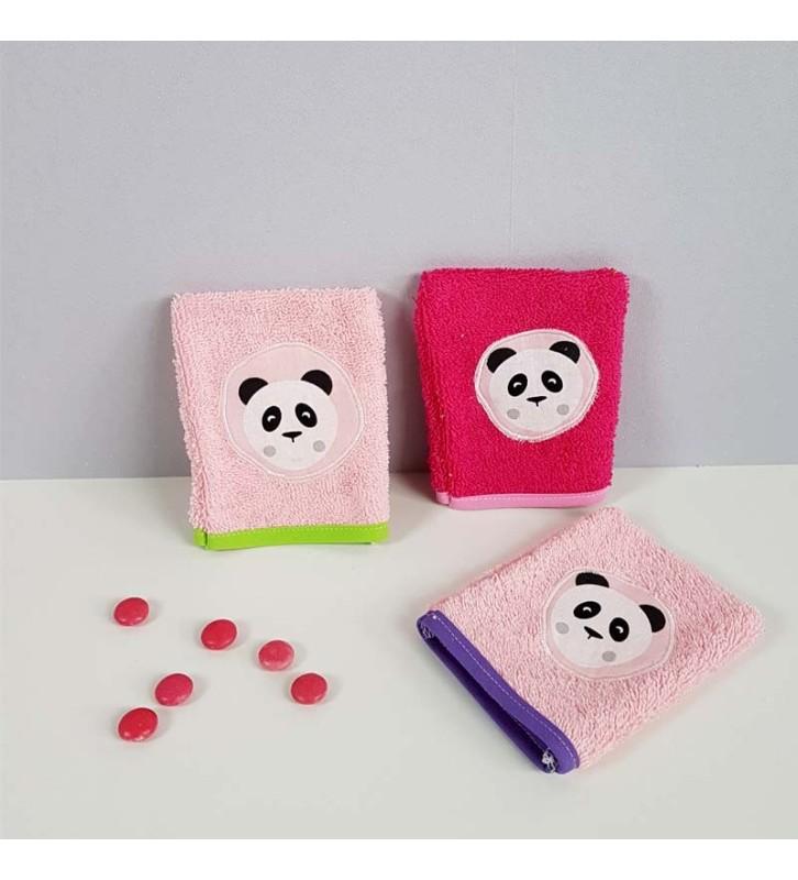 Trois gants de toilette Fille - Panda Rose