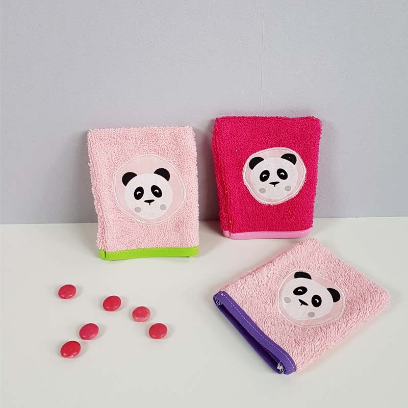 Lot de 3 gants de toilette Fille - Panda Rose