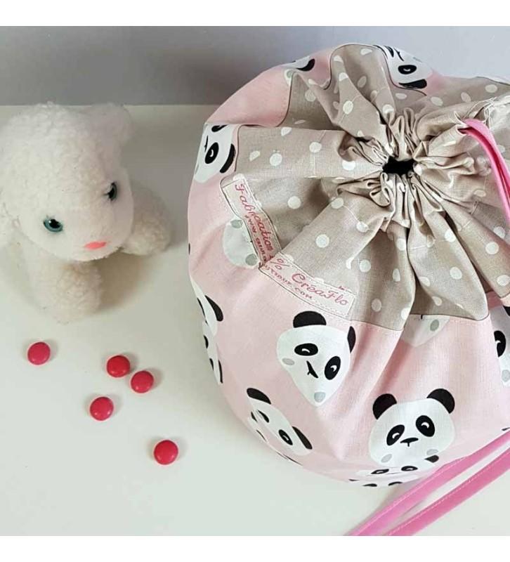 Sac à Doudou Fille Personnalisable - Motif Panda Rose