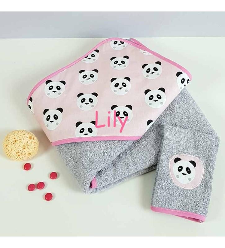 Grande Sortie de Bain Fille Brodée - Motif Panda Rose