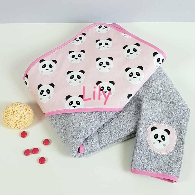 Grande Sortie de Bain Fille - Motif Panda Rose