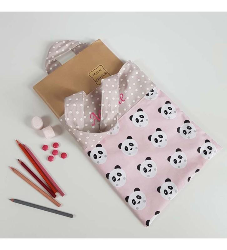 Sac Tissu Personnalisé pour Cahier de Vie - Panda Rose