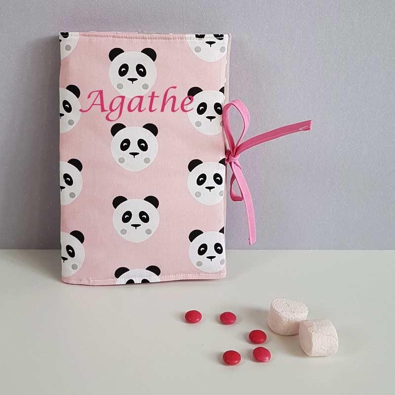Protège Carnet de Santé Personnalisé Fille - Motif Panda Rose