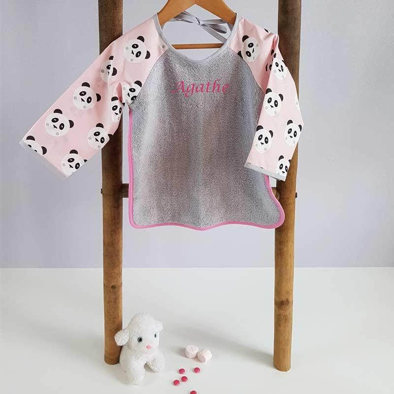 Bavoir Enfant avec Manches longues - Motif Panda Rose