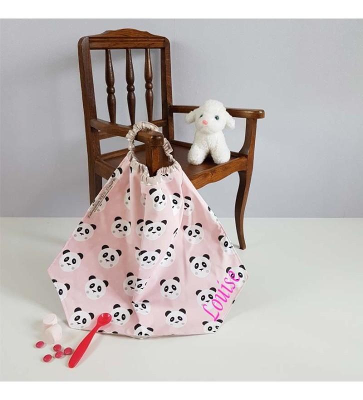 Serviette de Table Maternelle Personnalisée - Motif Panda Rose